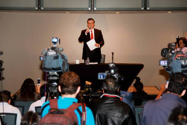 Marcelo Ebrard en conferencia de prensa en septiembre del año pasado. Foto: Facebook de Marcelo Ebrard