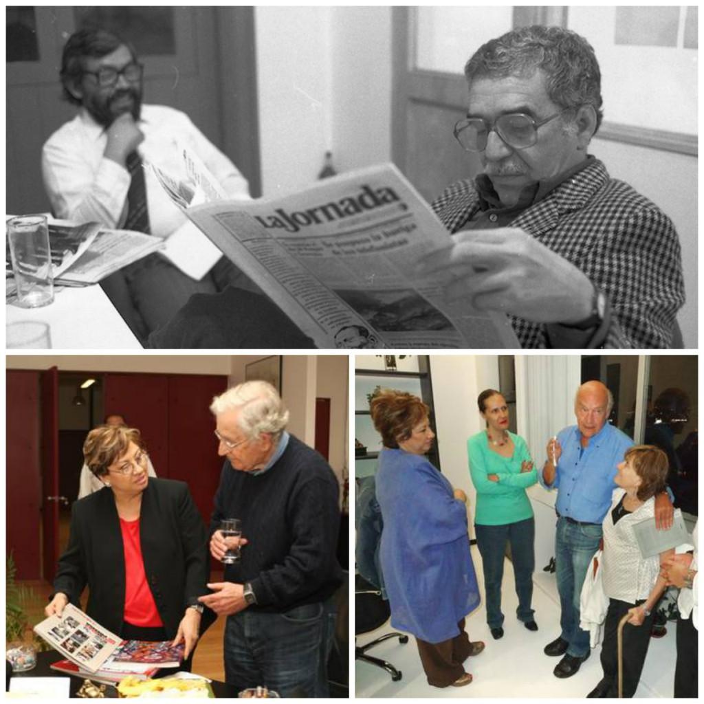 Por las oficinas de La Jornada han pasado escritores como Eduardo Galeano y Gabriel García Márquez, o académicos como Noam Chomsky.