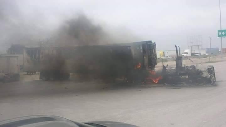 Camión incendiado en Reynosa Tamaulipas. Foto: Facebook