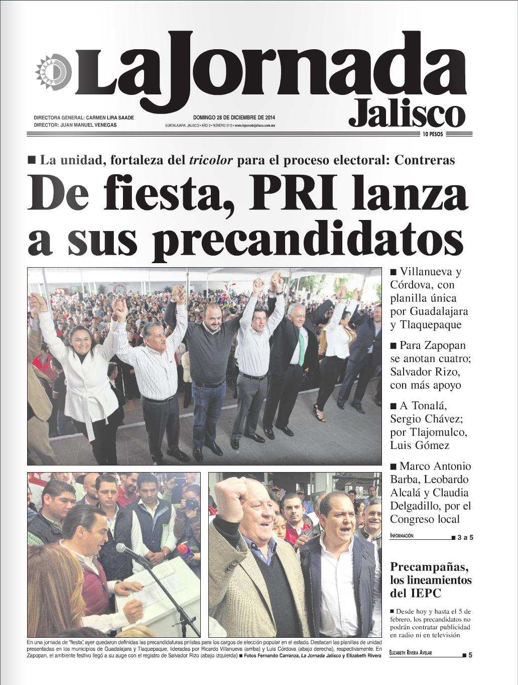 Portada del diario La Jornada Jalisco.