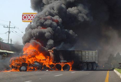 Imagen de un bloqueo en Jalisco el pasado primero de mayo.