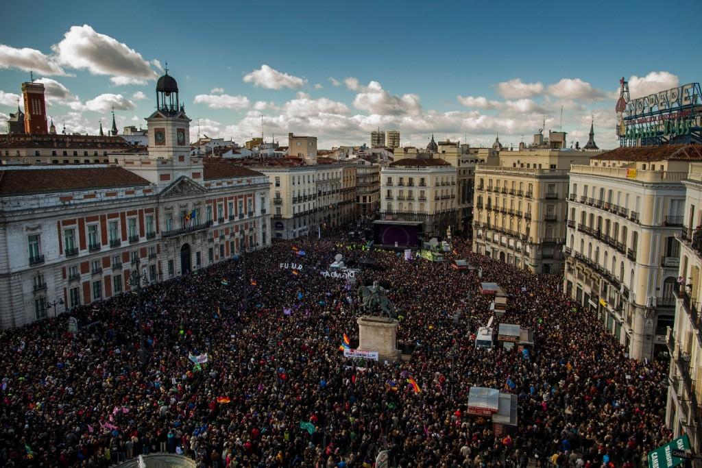 Mitin de Podemos el pasado 31 de enero, en la Puerta del Sol, en Madrid.