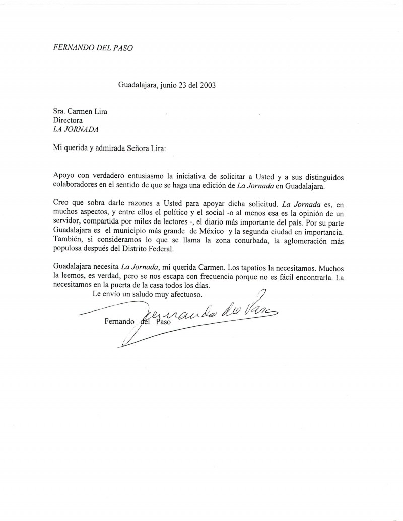 Carta del escritor Fernando del Paso a Carmen Lira, directora de La Jornada.