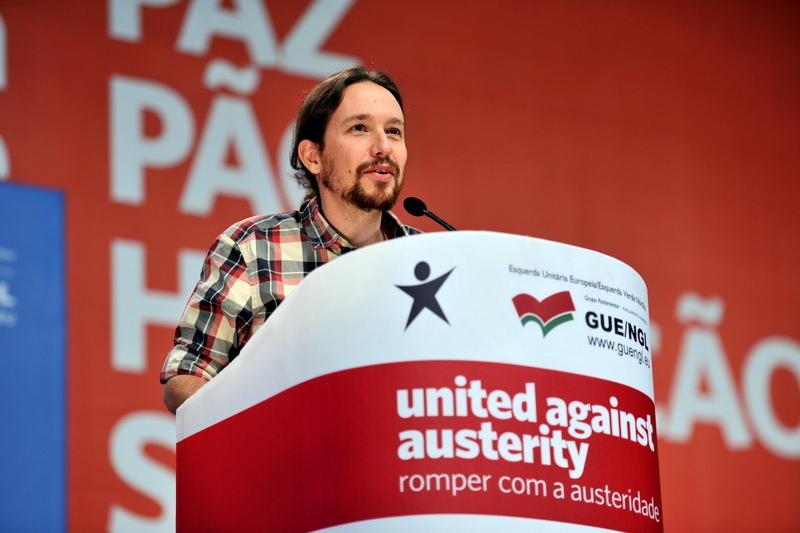 """El dirigente de Podemos, Pablo Iglesia, en el foro """"Unidos contra la austeridad"""". Foto: Bloco / Flickr"""