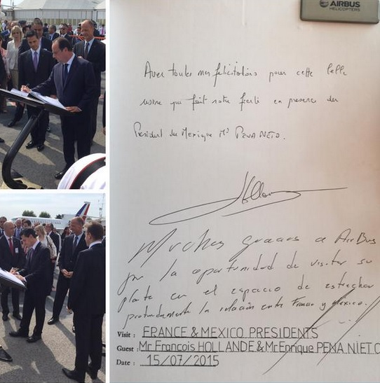 Palabras escritas tanto por François Hollande como por Enrique Peña Nieto, en el libro de visitantes honorables de una empresa aérea.