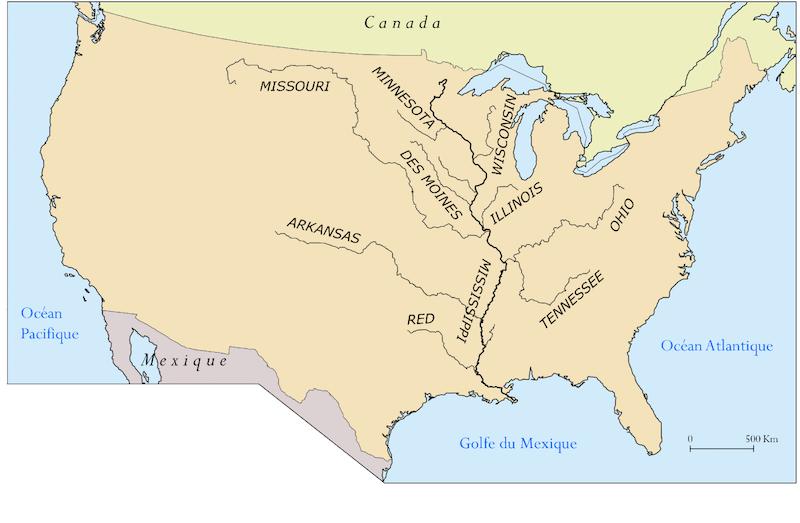Mapa del río Misisipi. Foto: Internet