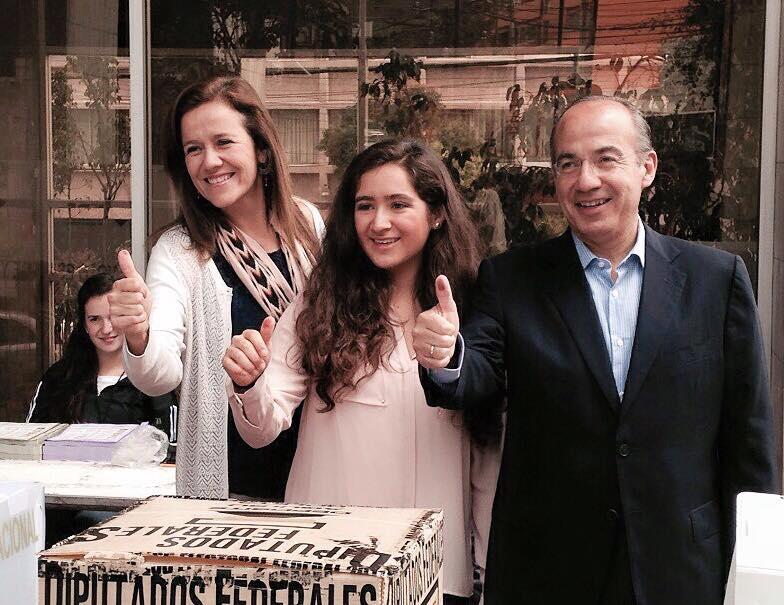 Margarita Zavala con Felipe Calderón en las elecciones de 2015