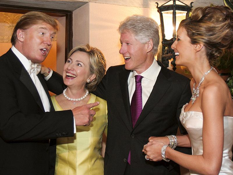 Donald Trump, Hillary Clinton, Bill Clinton y Melanie Trump.