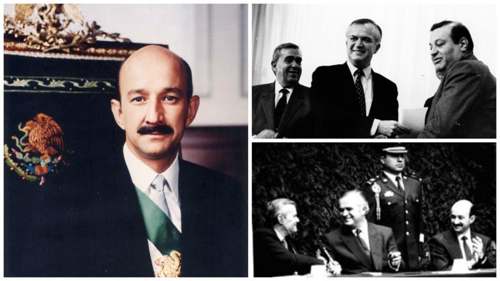 Carlos Salinas con la banda presidencial (derecha). Pedro Aspe y Carlos Slim (izquierda, arriba) Pedro Aspe y Carlos Salinas (izquierda, abajo).