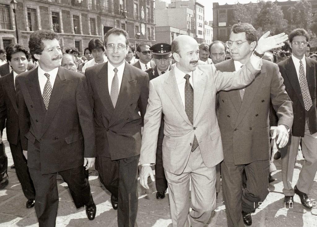 Luis Donaldo Colosio, Ernesto Zedillo, Carlos Salinas y Manuel Camacho Solis en 1993. Foto: Fernando Castillo/Micphotopress