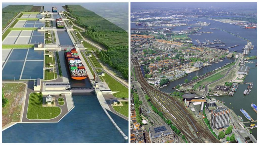 En el lado izquierdo, planes de construcción del canal en Nicaragua. A la derecha, una imagen aérea del puerto de Amsterdam, Holanda.