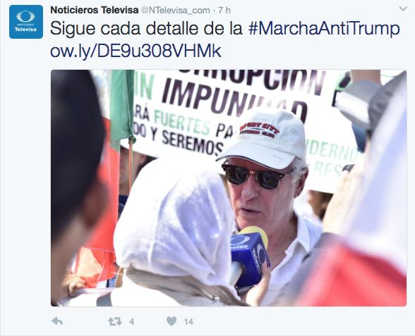 Televisa hizo una cobertura minuto a minuto de la marcha que fracasó. Foto: Twitter