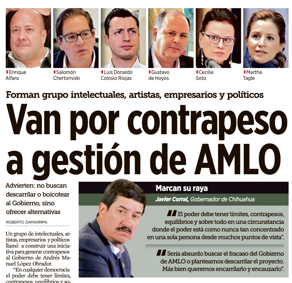 Portada del diario Reforma, del 23 de febrero de 2019.
