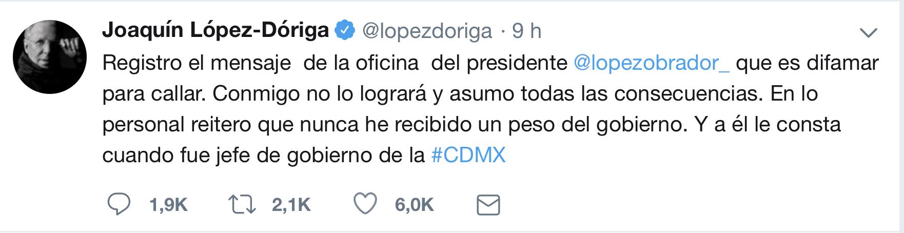 Tuit de López Dóriga